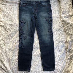 WHBM Floral Appliqué Jeans
